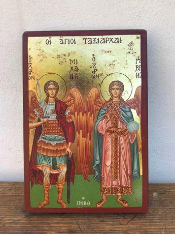 Гръцка икона със златно фолио- Архангел Михаил и Гавраил №488