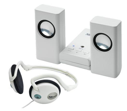 Преносими активни стерео колонки 2х1W RMS + слушалки