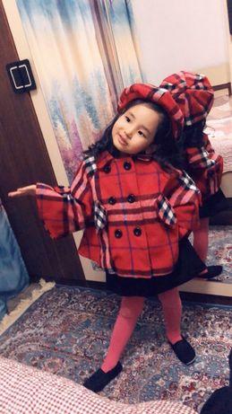 Детское стильное пальто панчо