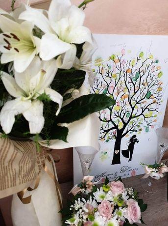 Рисуване на Сватбено дърво за отпечатъци по поръчка Сватба Кръщене Рож