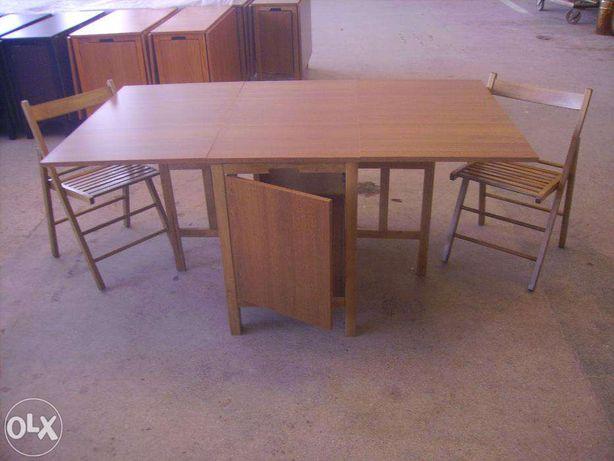 Set masa cu 4 sau 6 scaune pliante din lemn (NOU)