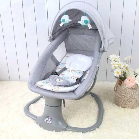 Balansoar de bebe electric, cu USB, Bluetooth, Telecomanda