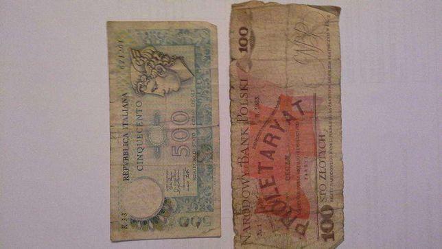 Bancnota 500 lire Italia si 100 sloti Polonia