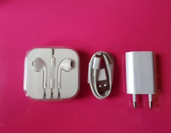 Pachet complet (incarcator+cablu+casti)iPhone 5/SE/6/7/8, 6,7,8 PLUS,X