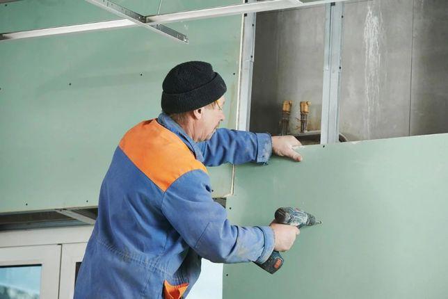 Монтаж перегородок, стен, потолков из гипсокартона