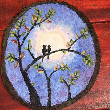 pictura tempera pe lemn butuc