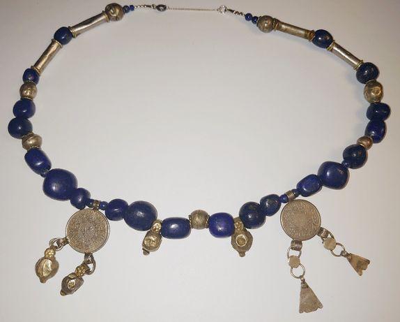 Colier etnic berber cu piatra naturala Lapis Lazuli -argint berber