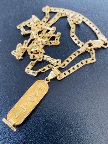 Lant si medalion de aur 18 karate NOU