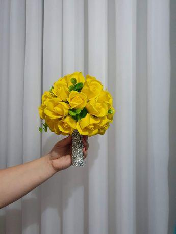 Buchet mireasa/nasa si aranjamente trandafiri sapun,flori bumbac !