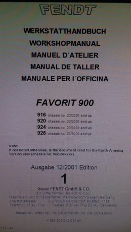 Manual de reparatii detaliate Fendt Favorit 916 920 924 926 tractor