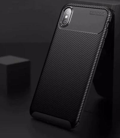 Husa AutoFocus Carbon iPhone X XS Black Silicon NOU
