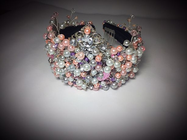 Coronita/diadema/cordeluta handmade,accesoriu par mireasa