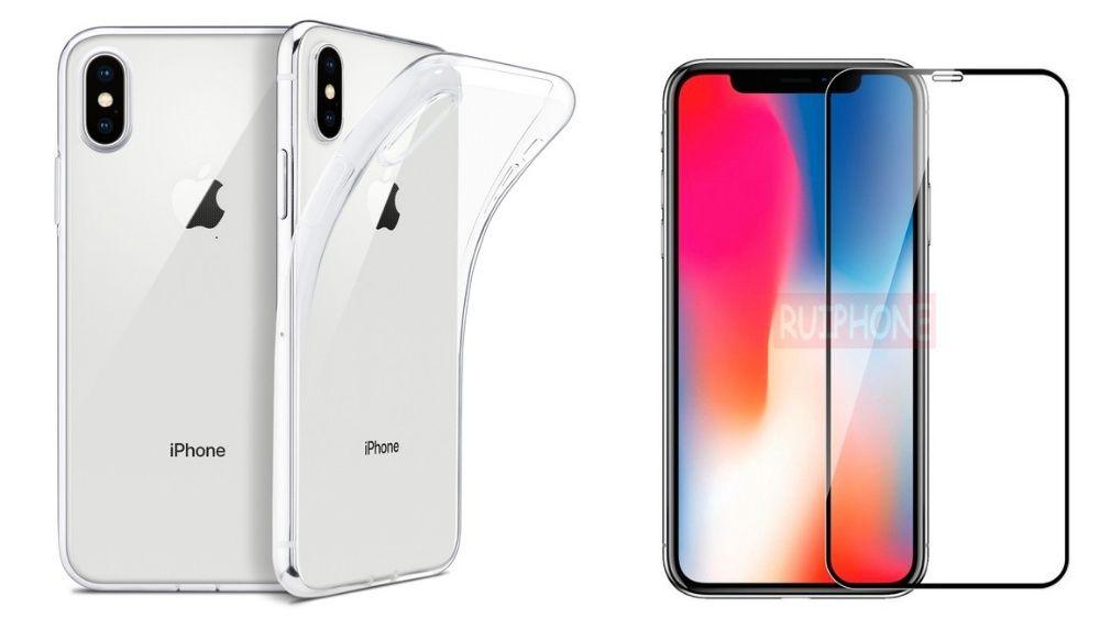 Pachet Husa Silicon si Folie Sticla 6D 9D 10D - Iphone X XS XR XS MAX