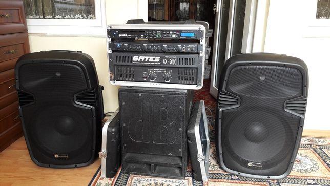 Sistem audio mixer, putere, bas activ + 2 boxe pasive
