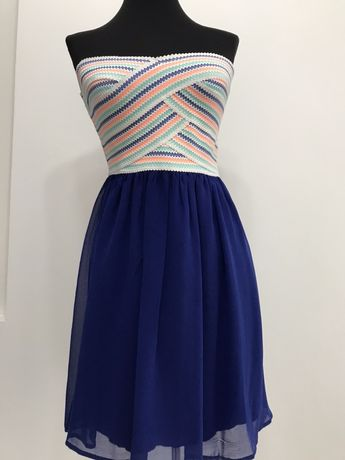 Rochie albastra de tip corset