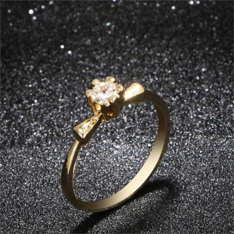 GR307,inel placat aur 14k, model logodna, zirconiu alb fatetat