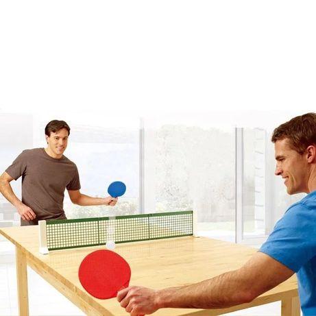 Set tenis de masă/ping-pong cu fileu, 2 rachete si 2 mingi | Nou