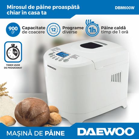 NOU Masina de paine Daewoo DBM600W, 600 W, 900 g, 2 nivele de rumenire