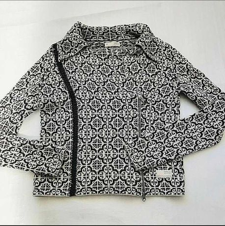 Jacheta tricotata Odd Molly Marimea 4 XL fermoar model floral bumbac