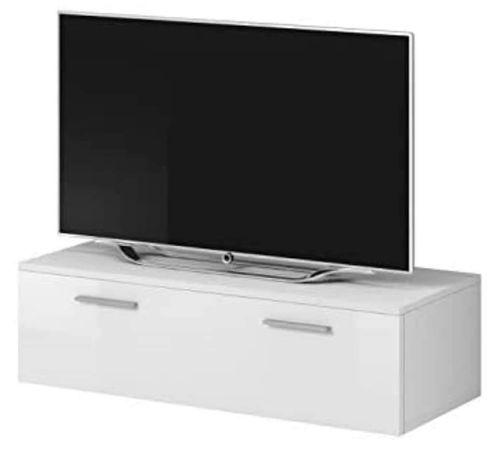 COMODA TV Stand Boston Body White Mat / Față Alb Alb Lucios (100 cm)