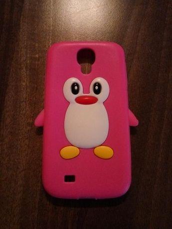Husa silicon Galaxy S4 pinguin roz