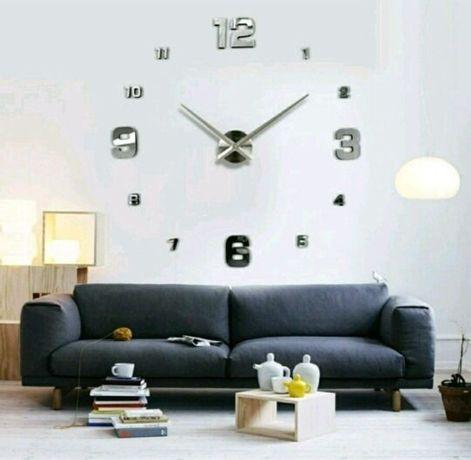 Часы 3Д большие (3D) настенные Черные и Серебро