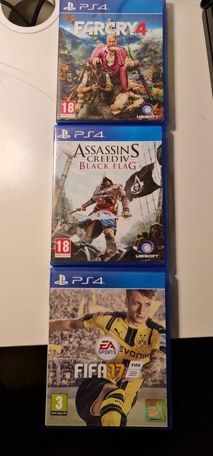 3 Jocuri PS4 Assassin-s Creed IV Black Flag, Farcry4 Fifa 17 originale
