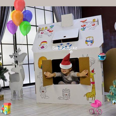 Картонный домик раскраска для детей Алфавит Kaspi RED QR