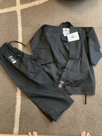 Costum copii karate judo negru Kabuki, nou, marimea 110,