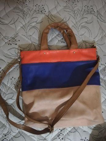 Чанта в три цвята бледо розово, синьо и червено, купена за 40лв.