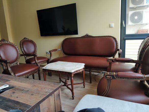 Луй XVI Диван  3-ка, 4 стола и масичка