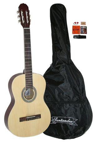 Set chitara clasica Santander KONZERTGITARRE C395 NATUR 4/4+husa+acord