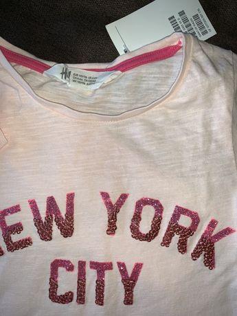 Set Bluza paiete pantaloni blugi H&M 110-116 cm 4-5-6 ani NOU
