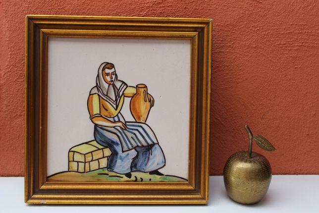 Placa faianta pictata manual BELGIA, mijlocul secolului 20