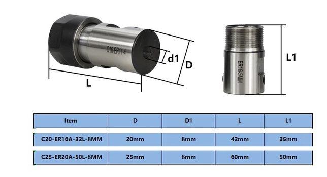 Mandrina ER16A si ER20A, pt ax de 8mm diametru, CNC