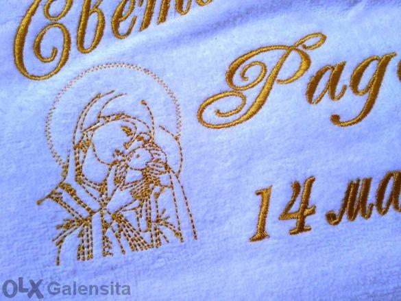 Хавлия за Кръщене с бродерия Дева Мария