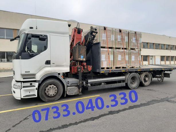 De inchiriat camion macara pt containere, paleti, materiale