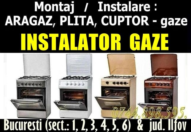 Montaj ARAGAZ / PLITA (sect. 1 - 6) montare INSTALATOR GAZE Autorizat