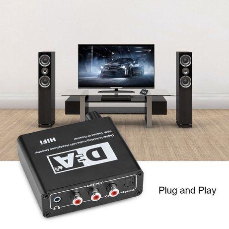 Convertor optic audio cu VOLUM si ON OFF pt TV fara jack NOU