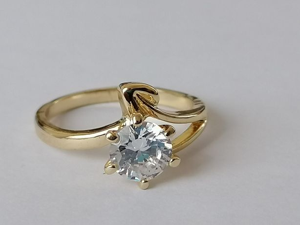 GPA41, inel placat aur 14k, model deosebit, logodna, zirconiu alb