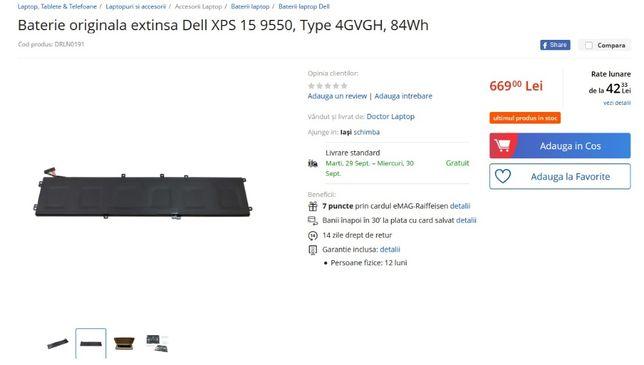 Baterie Dell XPS 15 9550, Precision 5510 ,Type 4GVGH, 84Wh -noua