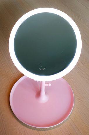 Зеркало косметическое настольное с подсветкой, розовое.Купи в подарок!