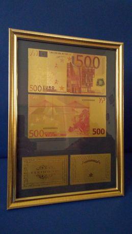 500 Евро Златни банкноти в рамка + 2 сертификата