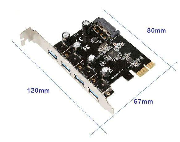 USB 3.0, placa 4 porturi, cutie + accesorii, noua