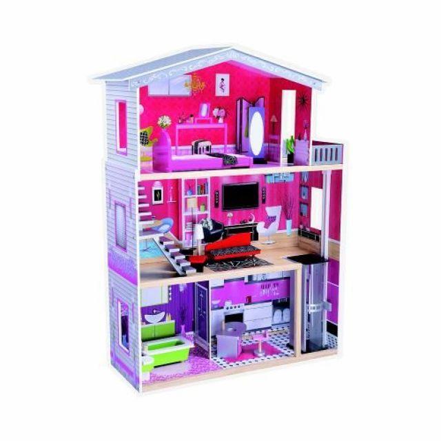 Промоция!Дървена къща за кукли с обзавеждане и асансьор Isabella