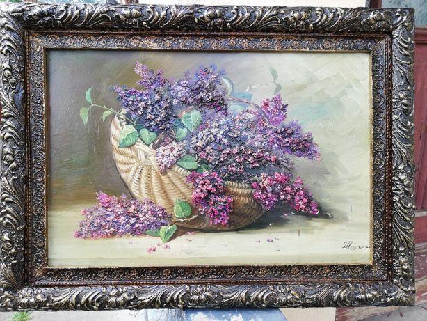 """"""" Flori de liliac """", tablou superb, vechi, u/p, Lică Flesaru, cu rama"""