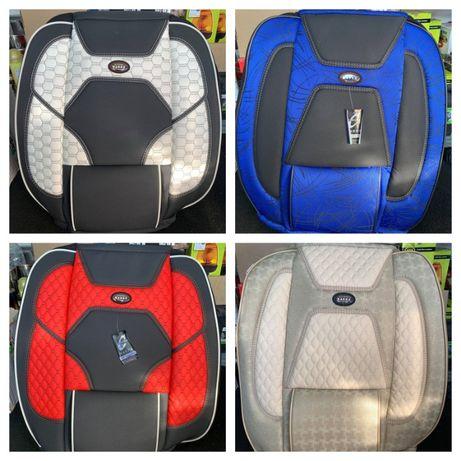 Huse scaune auto stofa imitatie de piele negru gri rosu albastru crem