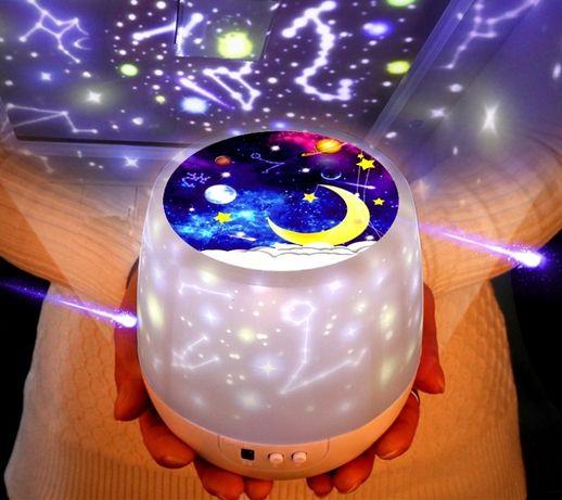 Новый Вращающийся Ночник-проектор Звездное небо (6 фильмов-вкладышей)