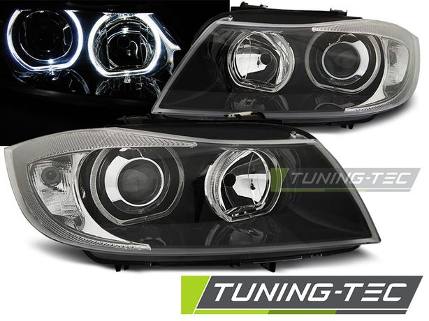 Faruri BMW E90/E91 03.05-11 LED ANGEL EYES BLACK negru Tuning Tec