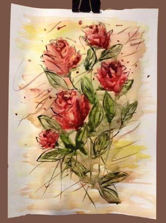 Roze,pictura in acuarele pe coala(21cmx29,5cm),50lei,Brasov